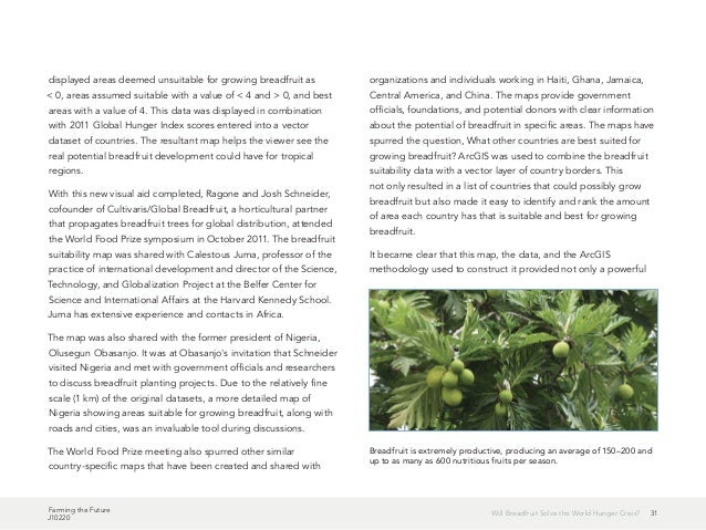 Farming the Future J10220 31Will Breadfruit Solve the World Hunger Crisis? displayed areas deemed unsuitable for growing b...
