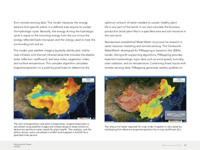 Farming the Future J10220 34More Crop per Drop from remote-sensing data. The model measures the energy balance that specif...
