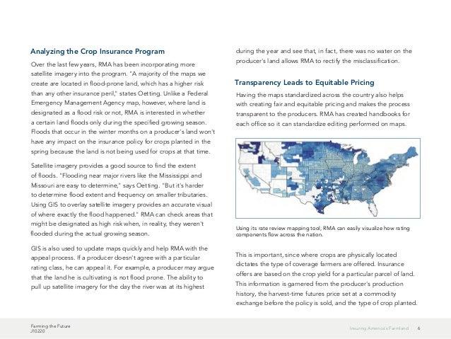 Farming the Future J10220 6Insuring America's Farmland Analyzing the Crop Insurance Program Over the last few years, RMA h...
