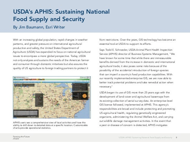 8USDA's APHIS: Sustaining National Food Supply and Security Farming the Future J10220 With an increasing global population...