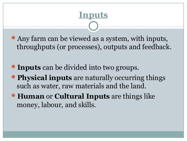 Processes And Outputs Processes or Throughputs are the actions within the farm that allow the inputs to turn into outputs...