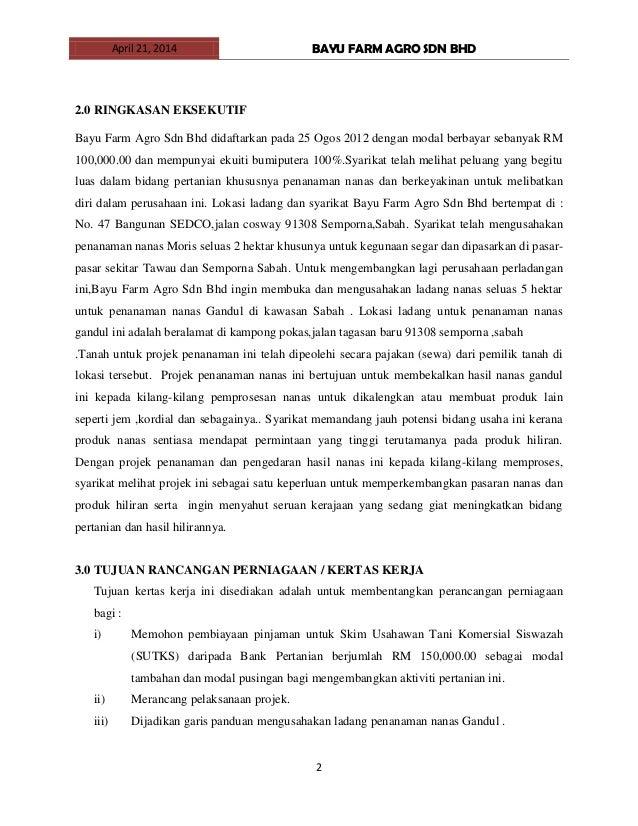 kertas kerja pengurusan ladang tanaman nenas Slide 2