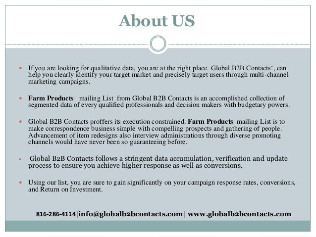 About US  If you are looking for qualitative data, you are at the right place. Global B2B Contacts', can help you clearly...