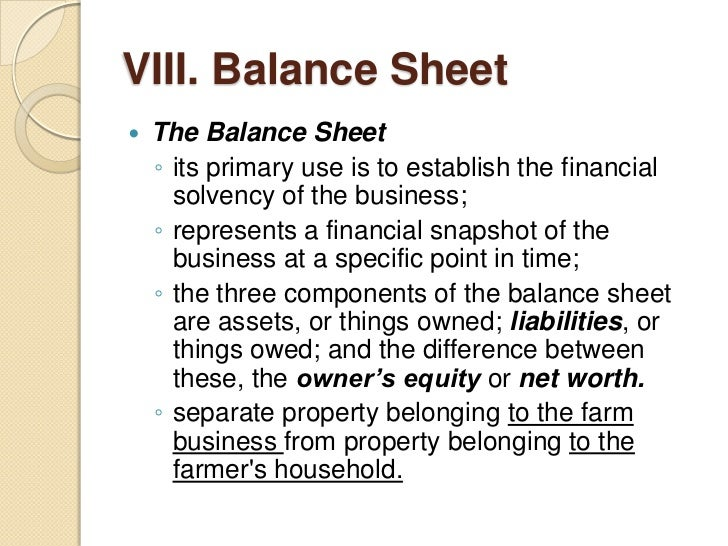Farm records and accounting – Components of Balance Sheet