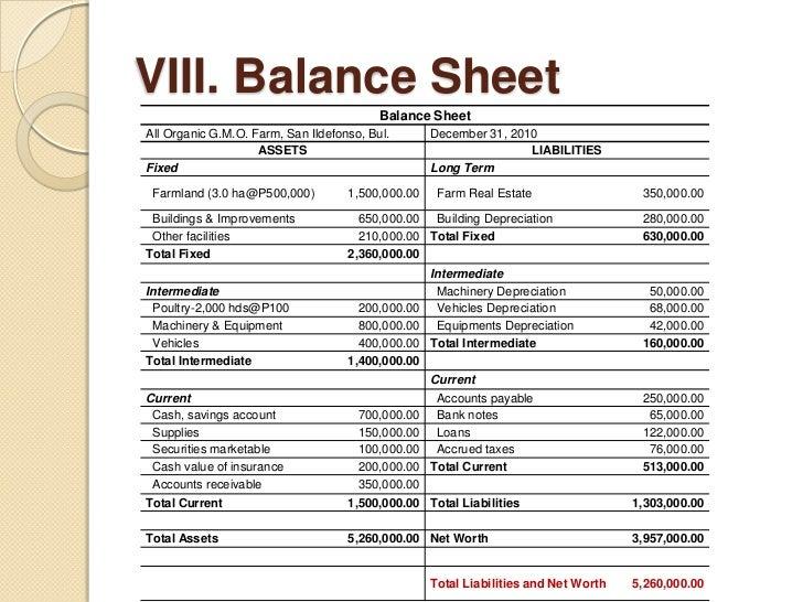 real estate balance sheet sample