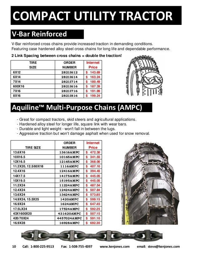 Tractor Tire Chains & Backhoe Tire Chains | Call 1-800-225-9513 | Ken…