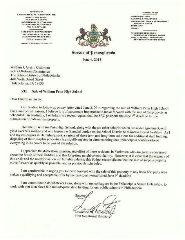 Sen. Larry Farnese' Letter to William Green, SRC