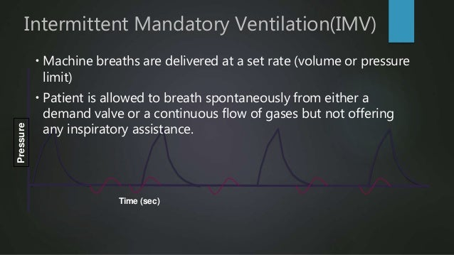 Intermittent Mandatory Ventilation(IMV)Pressure  Patient's capability determines Tidal volume of spontaneously breaths  ...