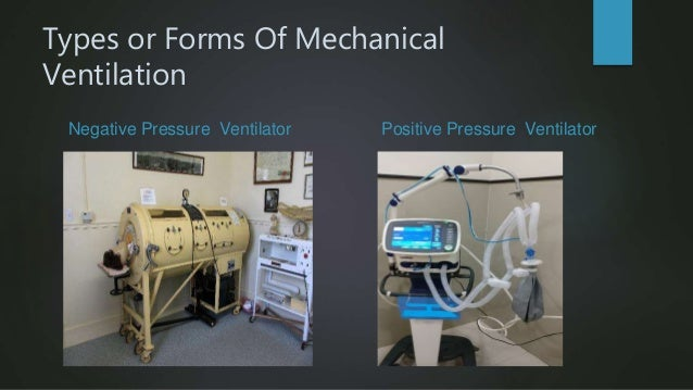 Types or Forms Of Mechanical Ventilation Negative Pressure Ventilator Positive Pressure Ventilator