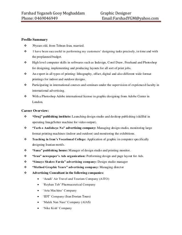 farshad u0026 39 s resume