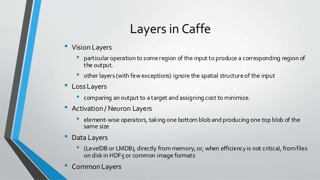 Layers in Deep Learning & Caffe layers (model architecture )