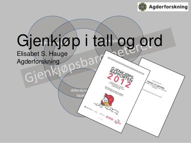 Gjenkjøp i tall og ord      Holdningslojalitet                                           Uttrykt lojalitetElisabet S. Haug...