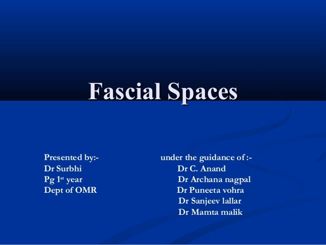Fascial Spaces Presented by:Dr Surbhi Pg 1st year Dept of OMR  under the guidance of :Dr C. Anand Dr Archana nagpal Dr Pun...