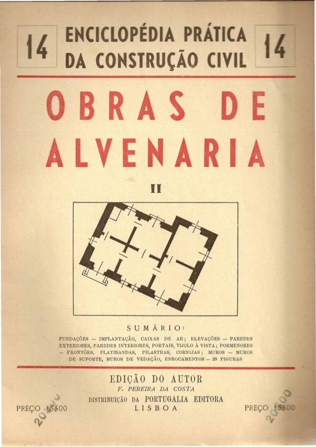 CO ST  BRAS  A LV E N'A R I  II  FUNDAQOES - IMPLANTAQAO, CAIXAS DE AR; ELEVAQOES - PAREDl!;S  EXTERIORES, PAREDES IN-TERI...