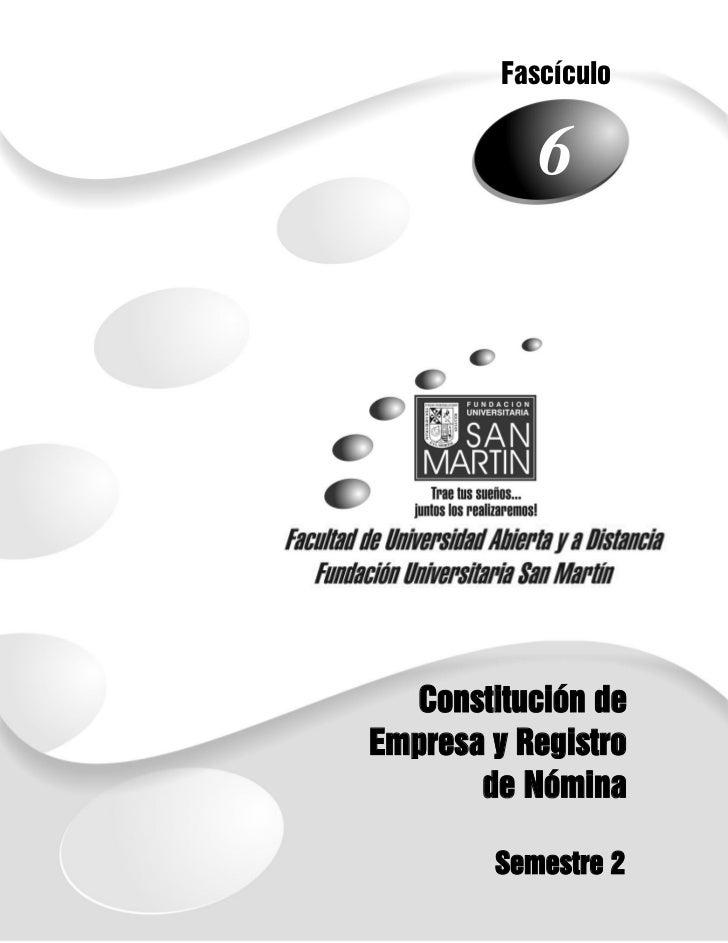 Fascículo                61      Constitución de    Empresa y Registro           de Nómina            Semestre 2