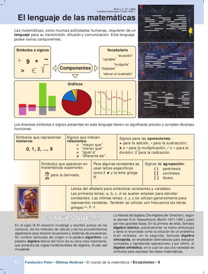 Fascículo 6. Ecuaciones.El mundo de la matemática Fundación Polar Slide 2