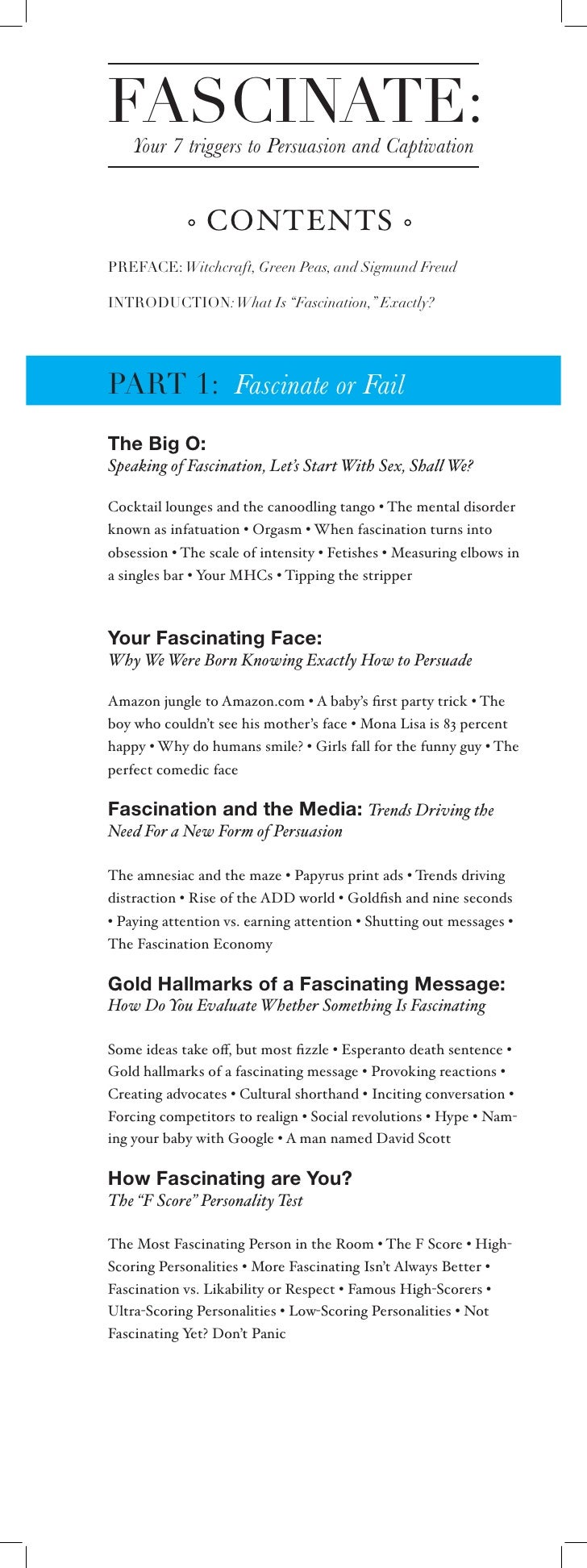 FASCINATE:     Your 7 triggers to Persuasion and Captivation                   CONTENTS PREFACE: Witchcraft, Green Peas, a...