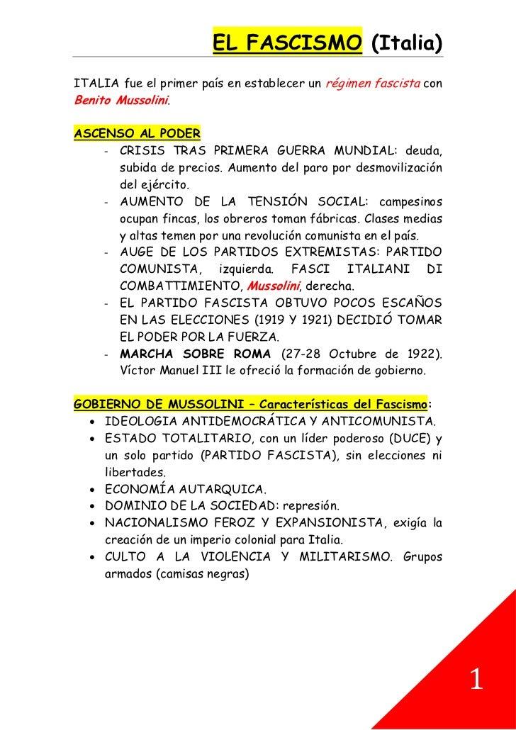 EL FASCISMO (Italia)ITALIA fue el primer país en establecer un régimen fascista conBenito Mussolini.ASCENSO AL PODER    - ...