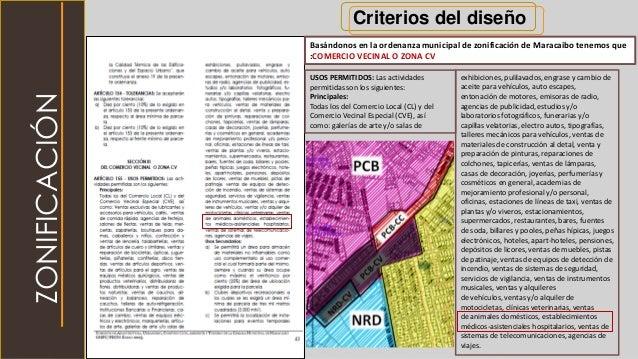 Criterios del diseño Basándonos en la ordenanza municipal de zonificación de Maracaibo tenemos que :COMERCIO VECINAL O ZON...