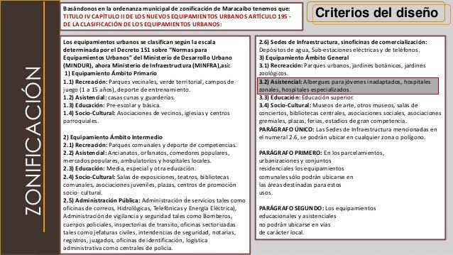 Criterios del diseñoBasándonos en la ordenanza municipal de zonificación de Maracaibo tenemos que: TITULO IV CAPÍTULO II D...