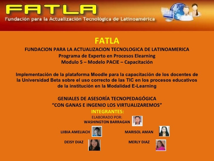 FATLA   FUNDACION PARA LA ACTUALIZACION TECNOLOGICA DE LATINOAMERICA               Programa de Experto en Procesos Elearni...