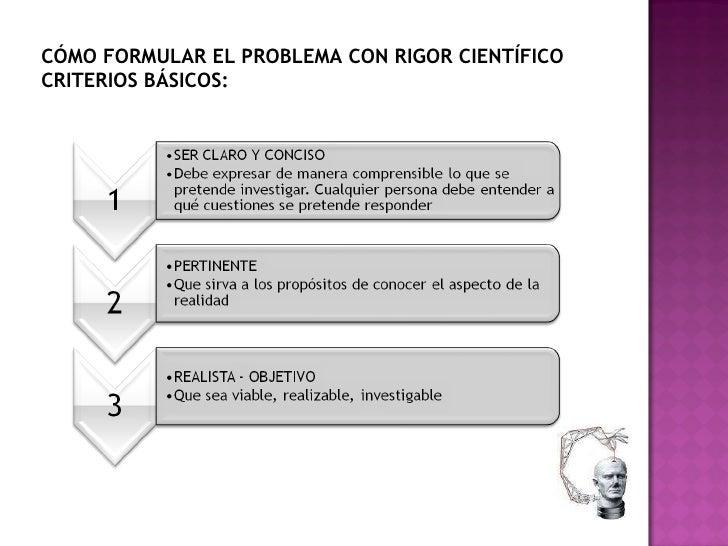 CÓMO FORMULAR EL PROBLEMA CON RIGOR CIENTÍFICO CRITERIOS BÁSICOS: