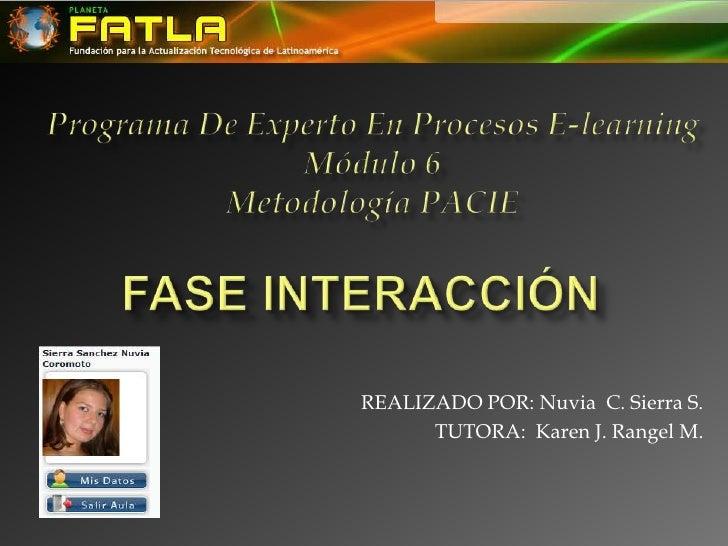 ProgramaDeExpertoEnProcesosE-learning<br />Módulo 6<br />MetodologíaPACIE<br />FASE INTERACCIÓN<br />REALIZADO POR: Nuvia ...
