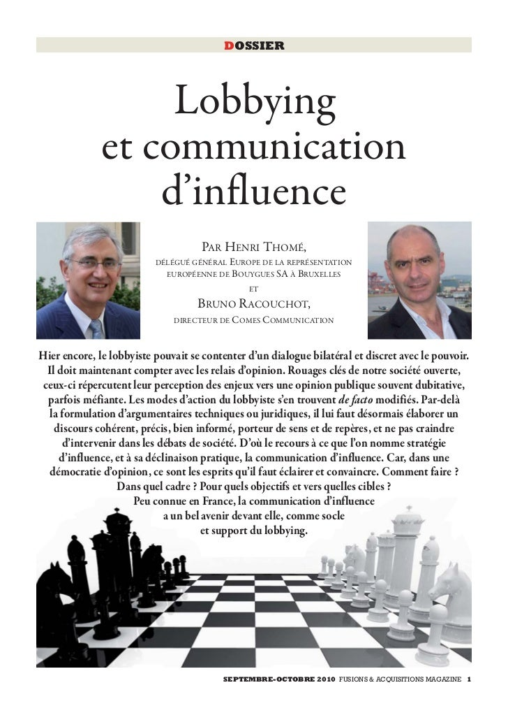 DOSSIER                   Lobbying              et communication                  d'influence                             ...