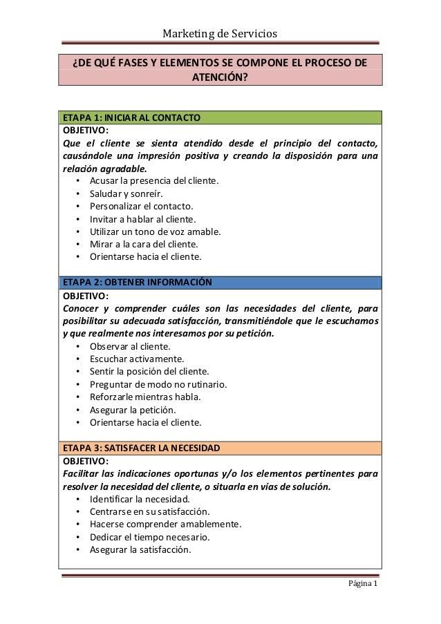 Marketing de Servicios ¿DE QUÉ FASES Y ELEMENTOS SE COMPONE EL PROCESO DE ATENCIÓN? ETAPA 1: INICIAR AL CONTACTO OBJETIVO:...