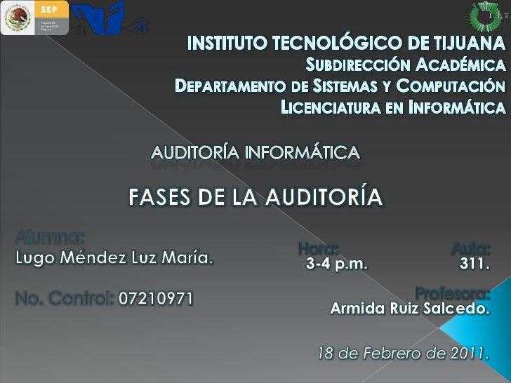 INSTITUTO TECNOLÓGICO DE TIJUANASubdirección AcadémicaDepartamento de Sistemas y ComputaciónLicenciatura en Informática<br...