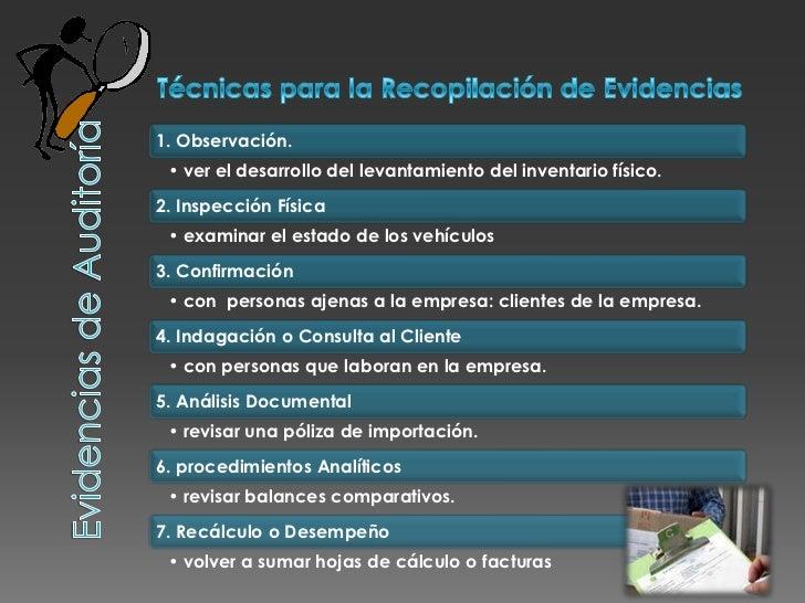 Técnicas para la Recopilación de Evidencias<br />Evidencias de Auditoría<br />