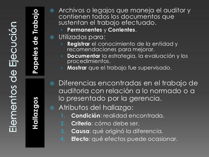 Elementos de Ejecución<br />Papeles de Trabajo<br />Hallazgos<br />Archivos o legajos que maneja el auditor y contienen to...