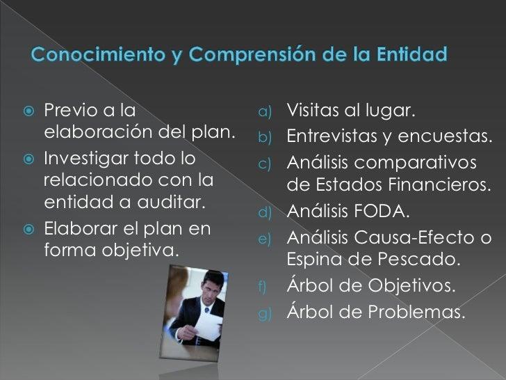 Conocimiento y Comprensión de la Entidad<br />Previo a la elaboración del plan.<br />Investigar todo lo relacionado con la...