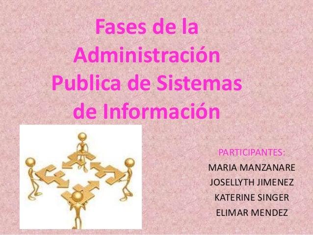Fases de la Administración Publica de Sistemas de Información PARTICIPANTES: MARIA MANZANARE JOSELLYTH JIMENEZ KATERINE SI...