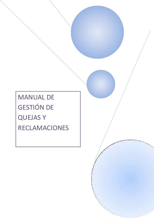 MANUAL DEGESTIÓN DEQUEJAS YRECLAMACIONES