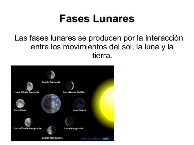 Fases LunaresLas fases lunares se producen por la interacción     entre los movimientos del sol, la luna y la             ...