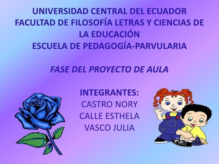 UNIVERSIDAD CENTRAL DEL ECUADOR FACULTAD DE FILOSOFÍA LETRAS Y CIENCIAS DE LA EDUCACIÓN ESCUELA DE PEDAGOGÍA-PARVULARIAFAS...