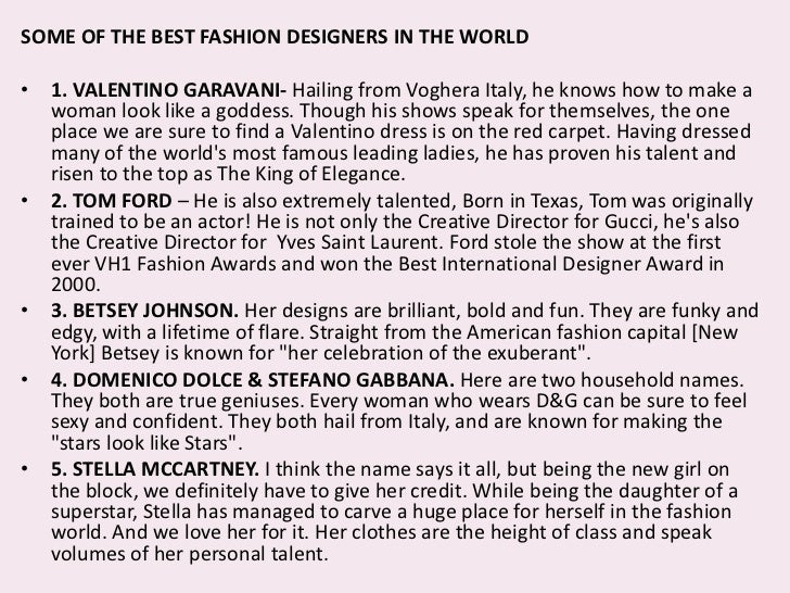 Essay About Ambition To Be A Fashion Designer