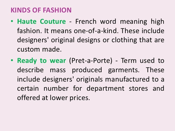 Fashion translation French English-French dictionary