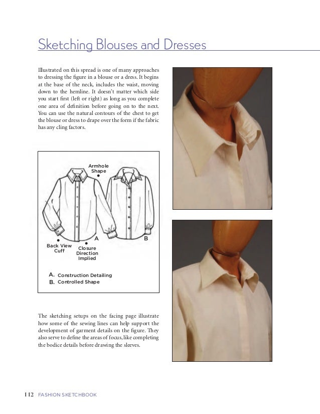 113FIVE   GARMENTS AND GARMENT DETAILS112 FASHION SKETCHBOOK Sketching Blouses and Dresses Armhole Shape A B • •Back View ...