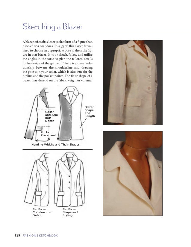 129FIVE   GARMENTS AND GARMENT DETAILSFASHION SKETCHBOOK Sketching a Blazer 128 A blazer often fits closer to the form of ...