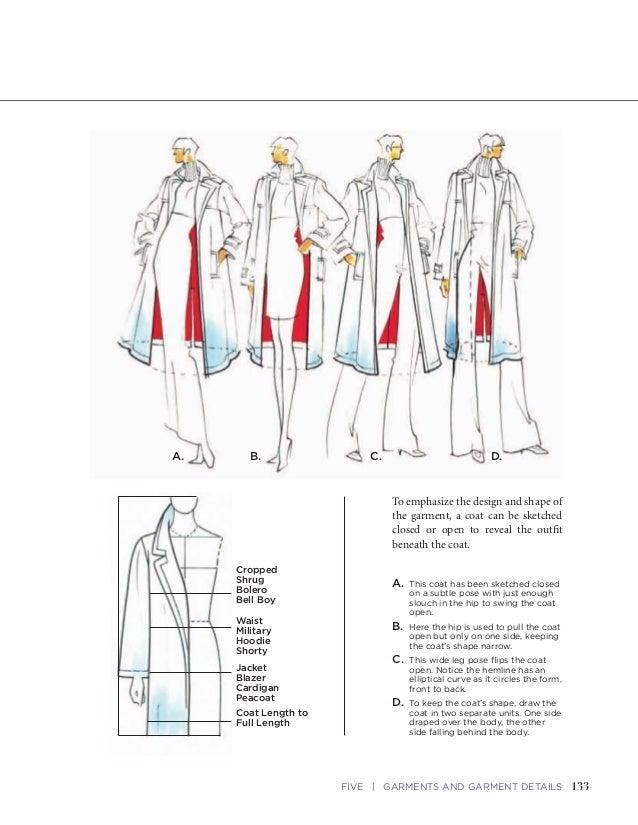 133FIVE   GARMENTS AND GARMENT DETAILSFASHION SKETCHBOOK Drawing Coats 132 Oversized Collar Epaulet Panel (Yoke) Button Ta...