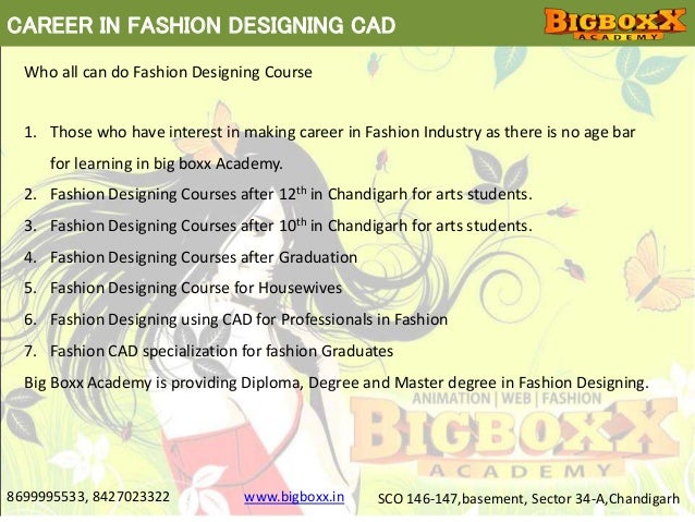 Fashion Designing Courses In Chandigarh Using Cad At Big Boxx Academy