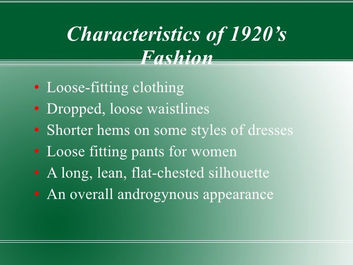 Characteristics of the 1920s