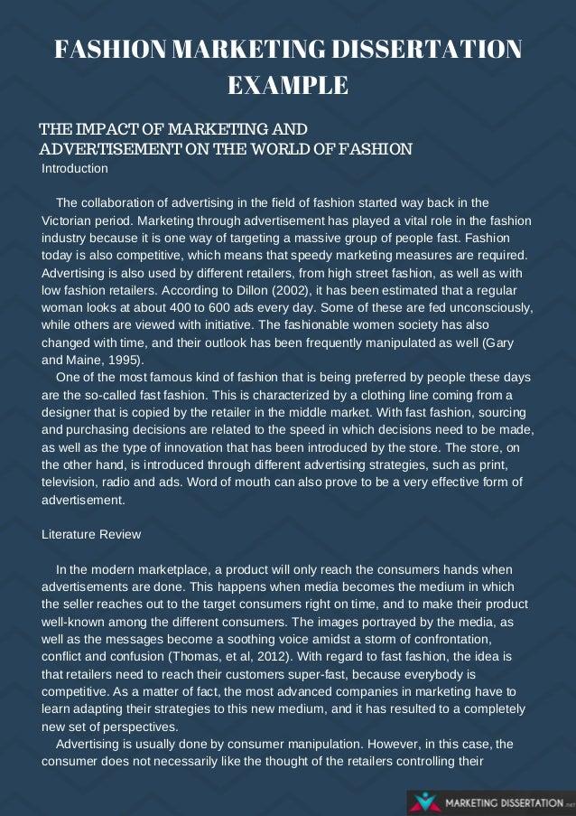 Fashion dissertation introductions