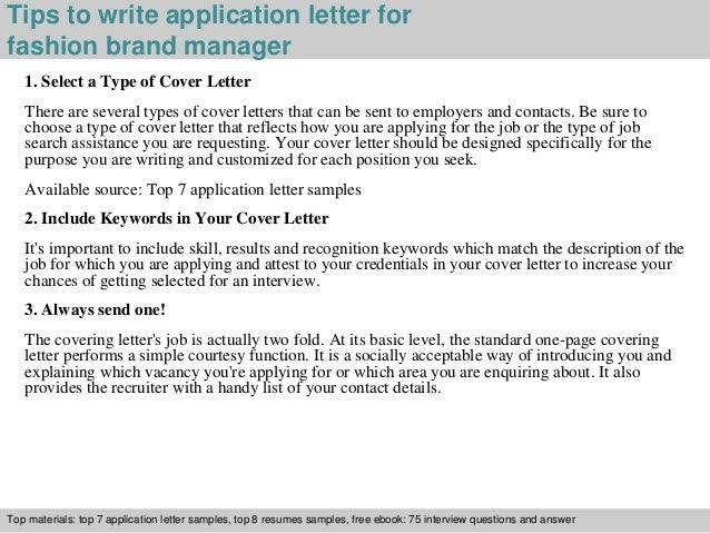... 3. Tips To Write Application Letter For Fashion ...