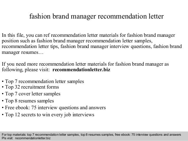 Fashion Brand Manager Recommendation Letter