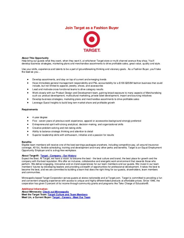 join target as a fashion buyerabout this opportunityhelp bring our guests what they want when - Buyer Resume Objective