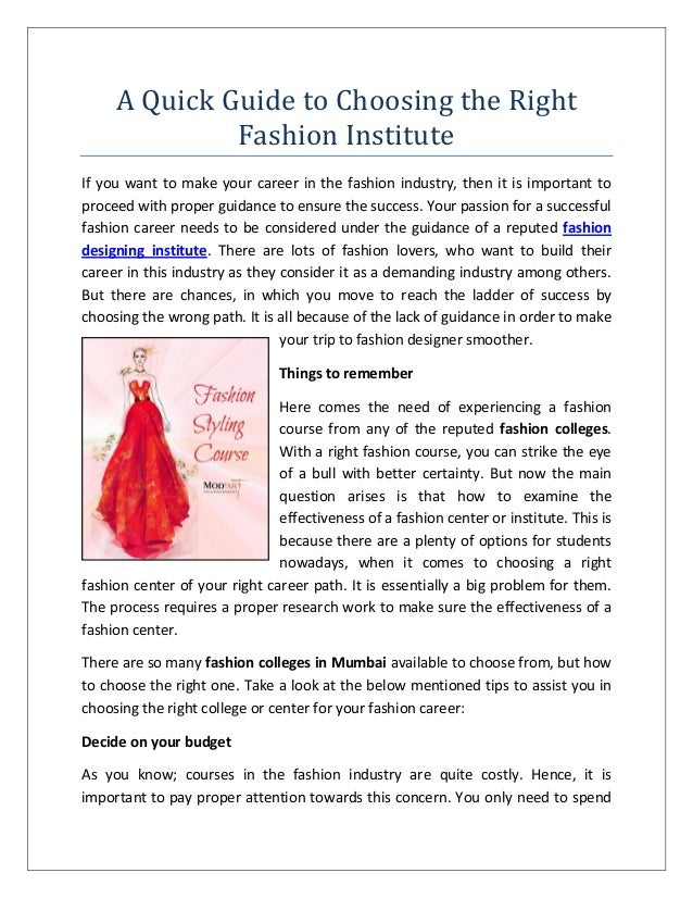 A Quick Guide To Choosing The Right Fashion Institute
