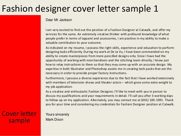 Fashion Designer Cover Letter ...